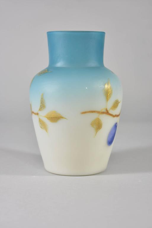 Victorian Pair of Blue Cased Glass Vases with Plums/Grapes by Thomas Webb For Sale