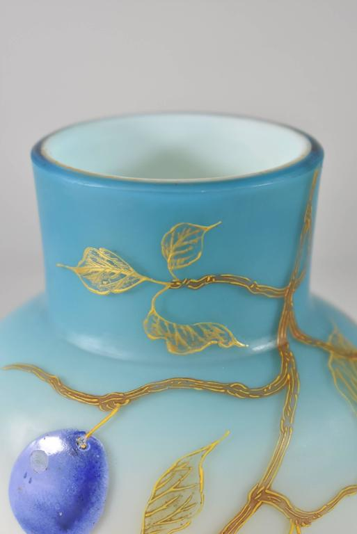 English Pair of Blue Cased Glass Vases with Plums/Grapes by Thomas Webb For Sale