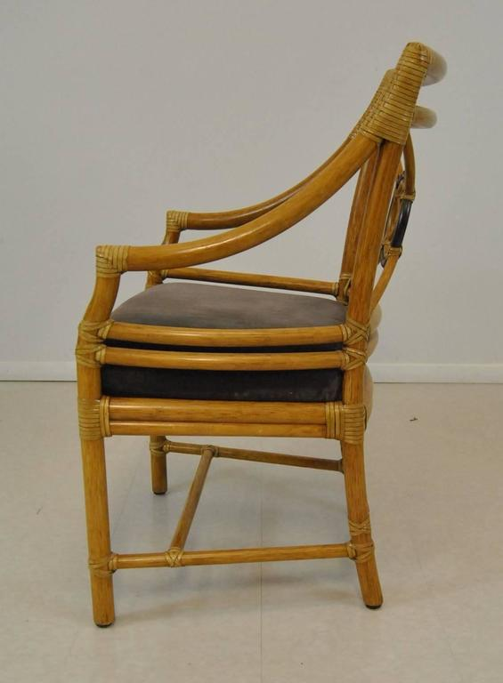 Set Of Six Target Back Rattan Chairs By Mcguire At 1stdibs