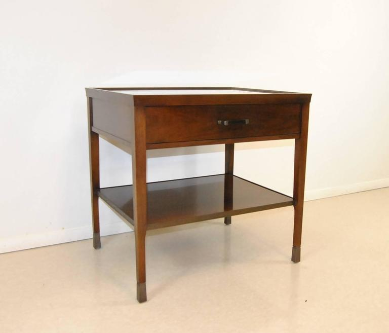Modern Walnut Side End Table by Bill Sofield for Baker Furniture For Sale