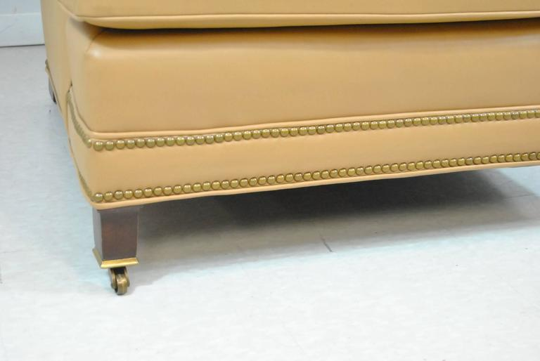 Hancock And Moore Tan Leather Club Chair And Ottoman With