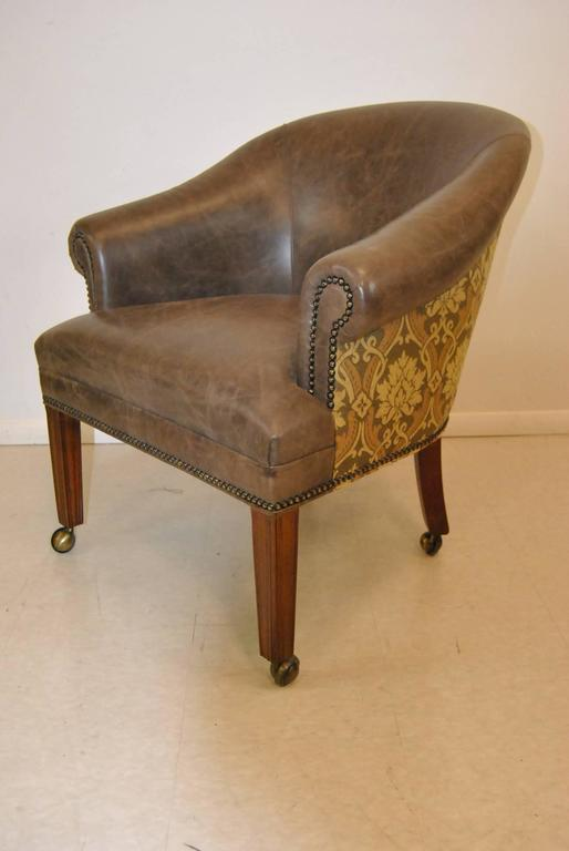 set of four leather and tapestry upholstered tub chairs by hancock