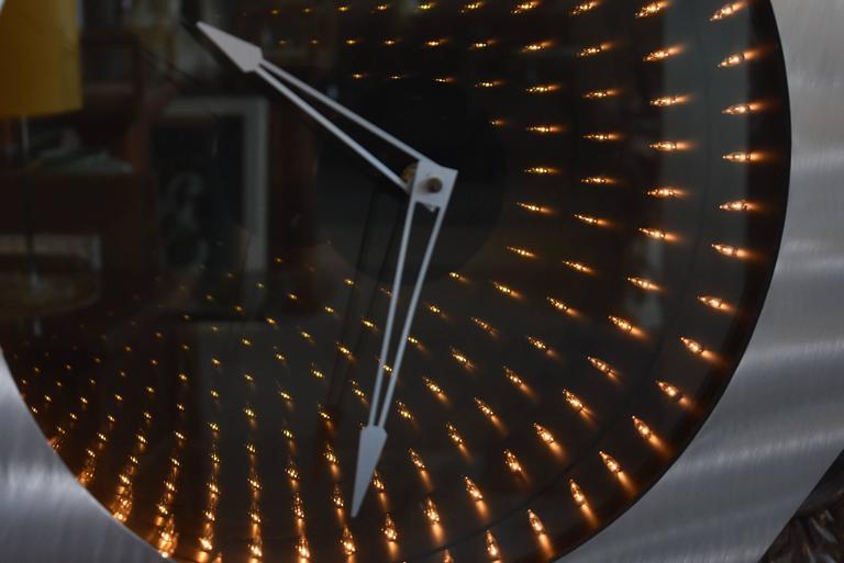 Contemporary Infinity Floor Clock In Brushed Aluminium For