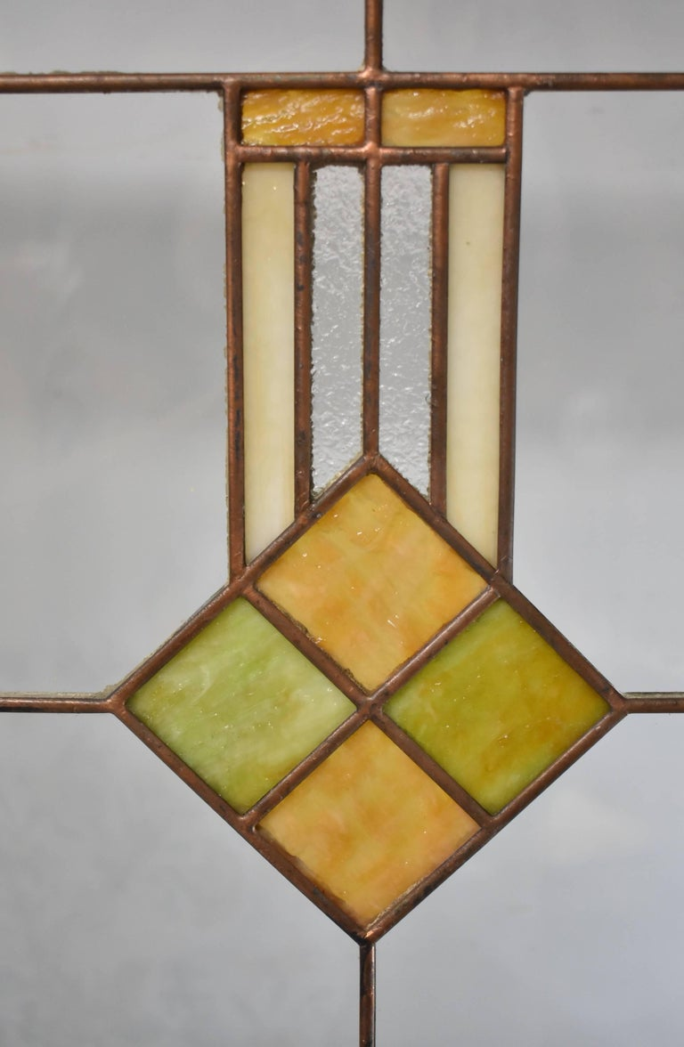 Pair Of Arts And Crafts Prairie School Stained Glass