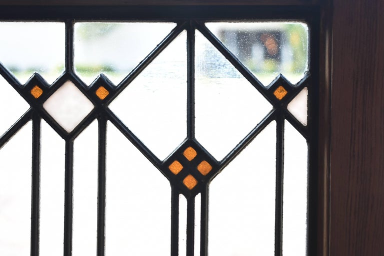 American Prairie School Arts & Crafts Stained Glass Window Manner of Frank Lloyd Wright For Sale