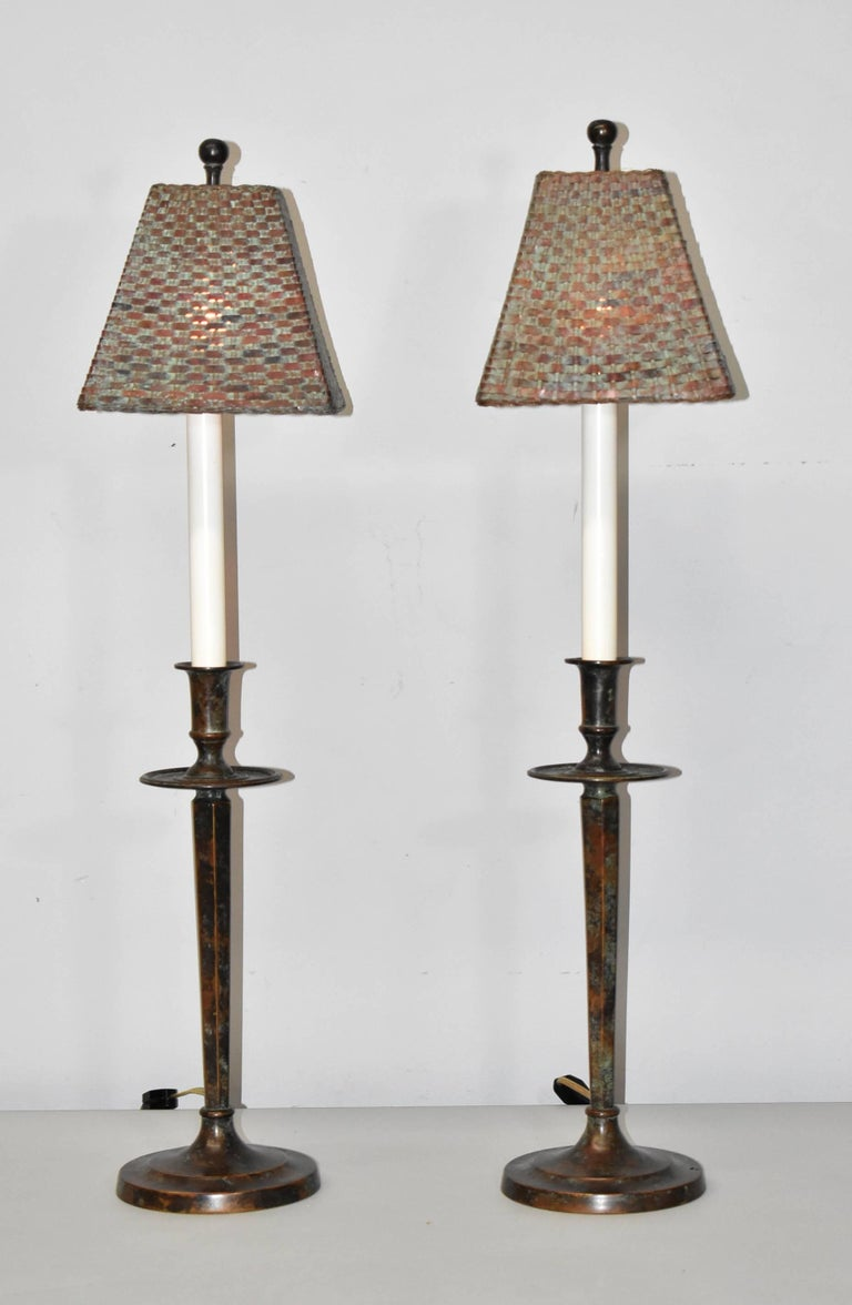 Pair Of Maitland Smith Buffet Lamps With Verdigris Copper