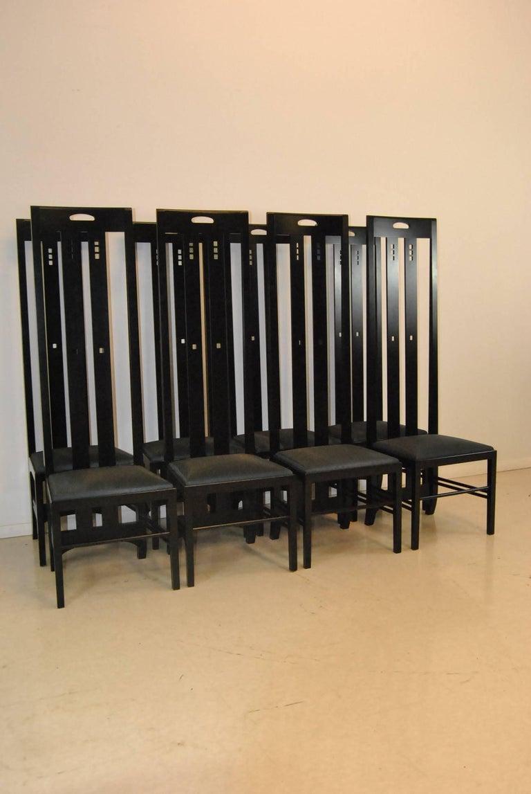 Eight High Back Ebony Finish Ingram Dining Chairs Charles