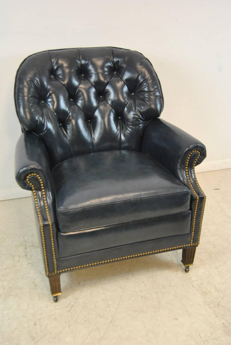 Hancock And Moore Navy Blue Leather Chair And Ottoman For