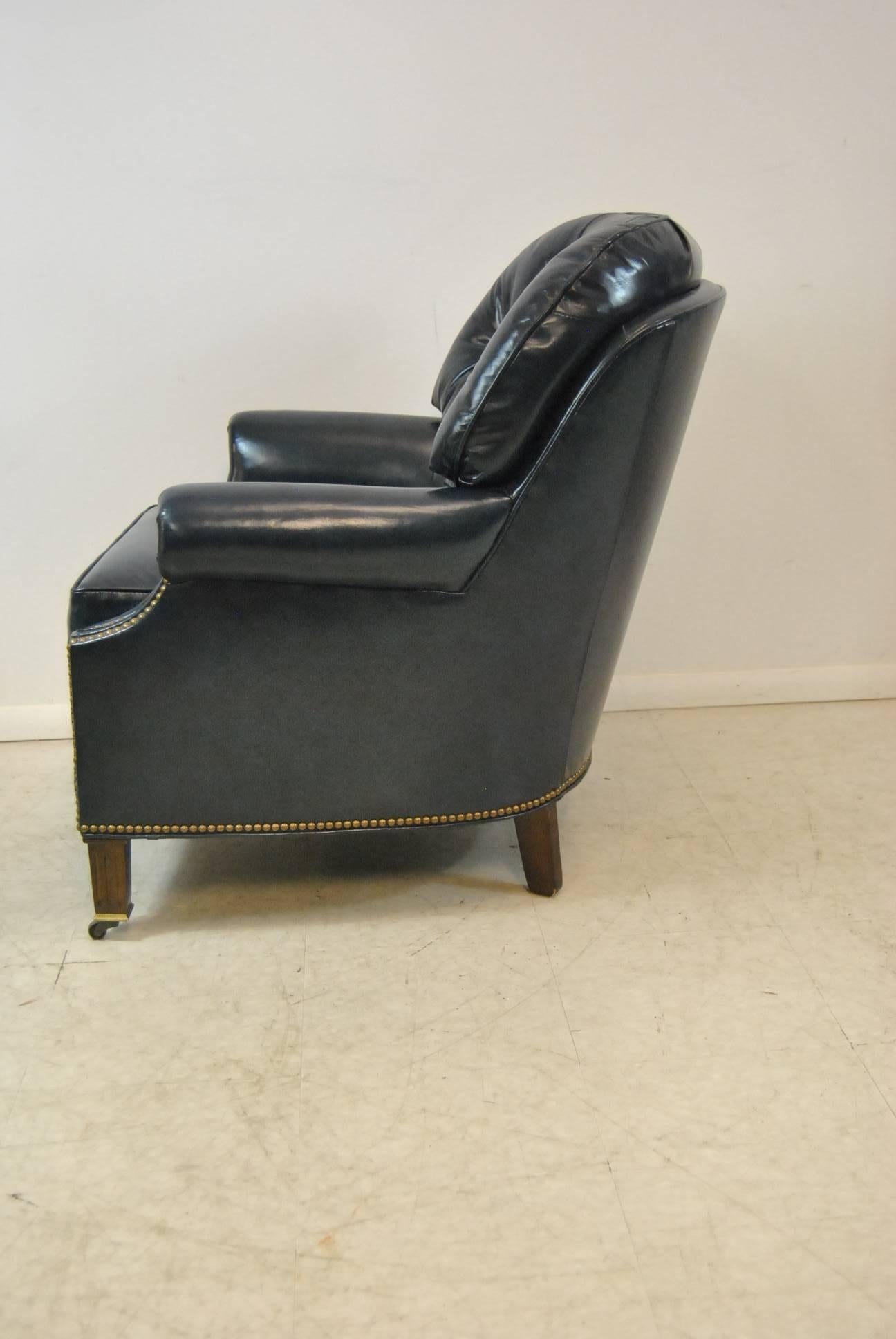20th Century Hancock And Moore Navy Blue Leather Chair And Ottoman For Sale