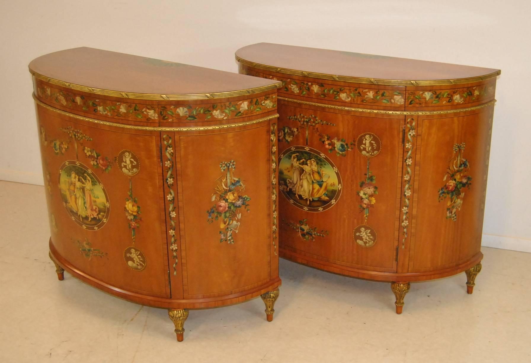Incroyable A Gorgeous Pair Of Satinwood French Adam Style Commodes By Irwin Furniture,  Circa 1937.