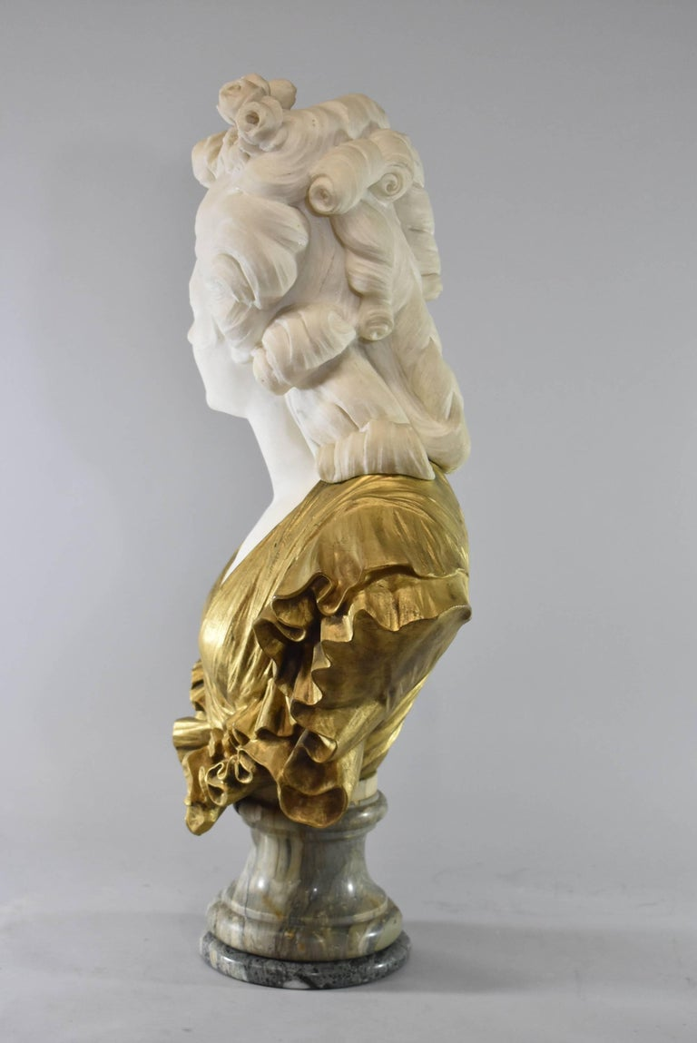 19th Century French Gilt Bronze and Marble Female Figural Bust In Good Condition In Toledo, OH