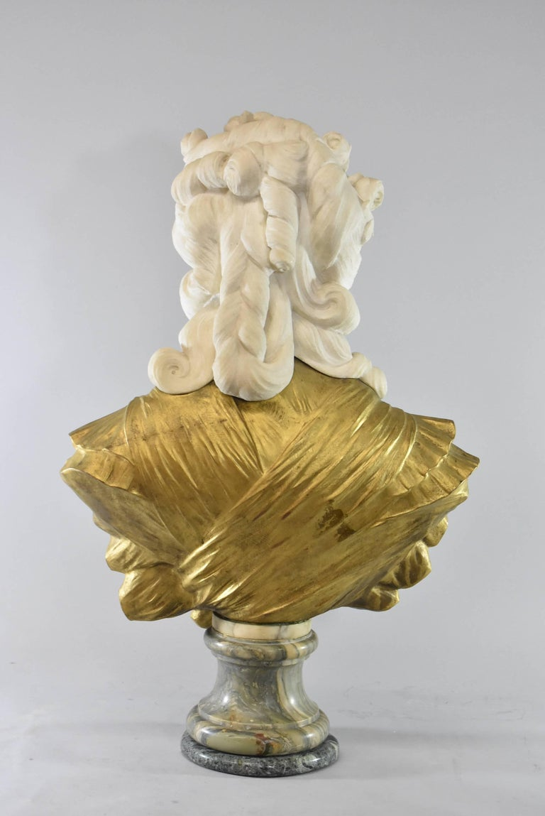 European 19th Century French Gilt Bronze and Marble Female Figural Bust