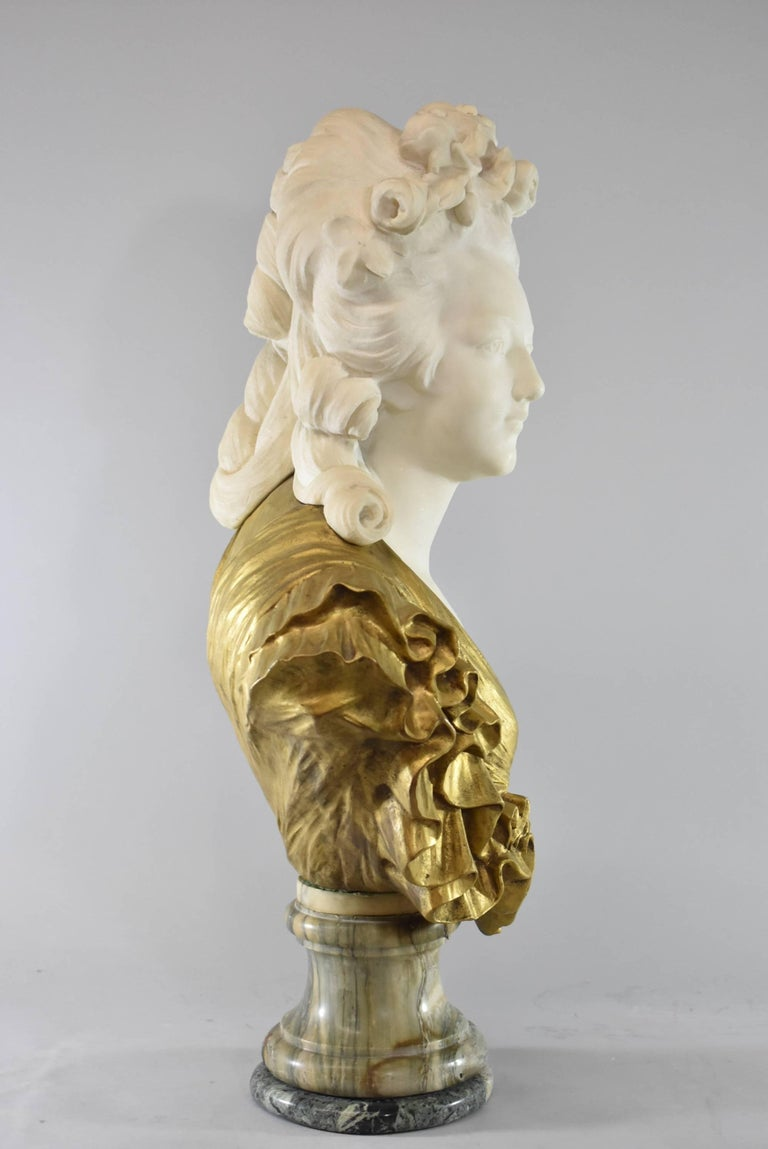 Victorian 19th Century French Gilt Bronze and Marble Female Figural Bust