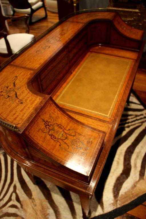 Inlay  Georgian Adams-Style Carlton House Marquetry Inlaid Desk by Edwards and Roberts For Sale