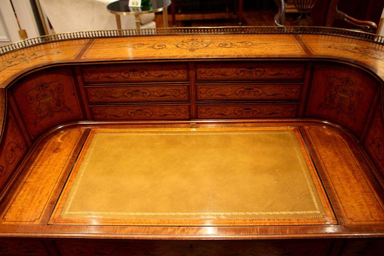 19th Century  Georgian Adams-Style Carlton House Marquetry Inlaid Desk by Edwards and Roberts For Sale