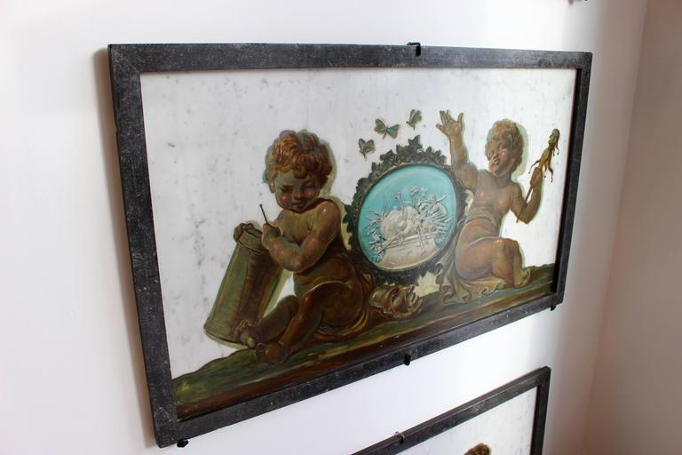 Painted Early 19th Century Set of Four Trompe-L'Oeil Oil Paintings on Marble with Putti For Sale