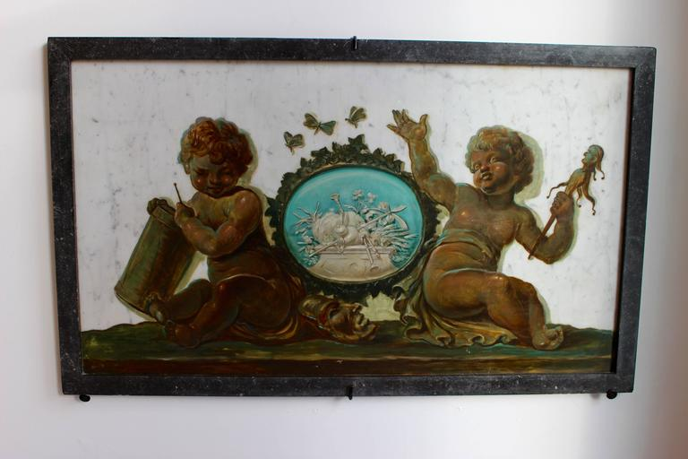 French Early 19th Century Set of Four Trompe-L'Oeil Oil Paintings on Marble with Putti For Sale