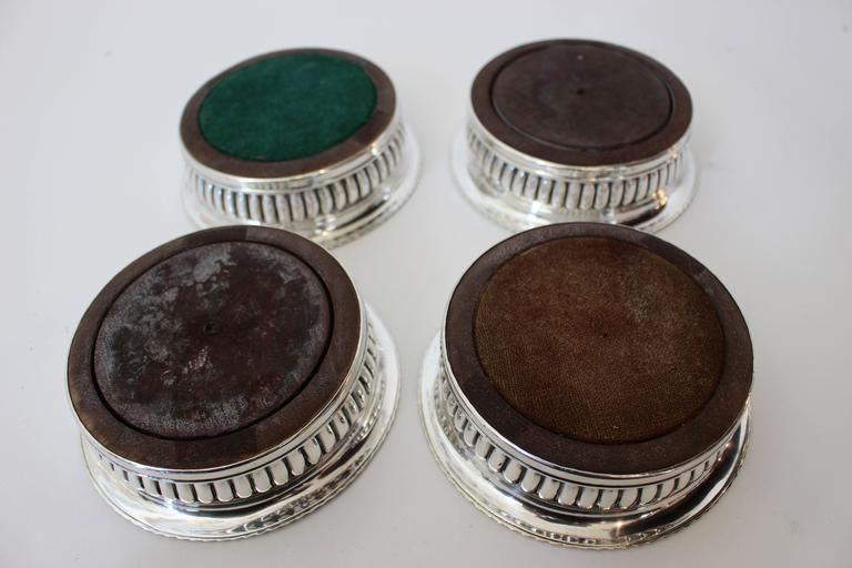 19th Century Set of Four George III Silver Wine Coasters with Mark of J.W. Storey, London For Sale