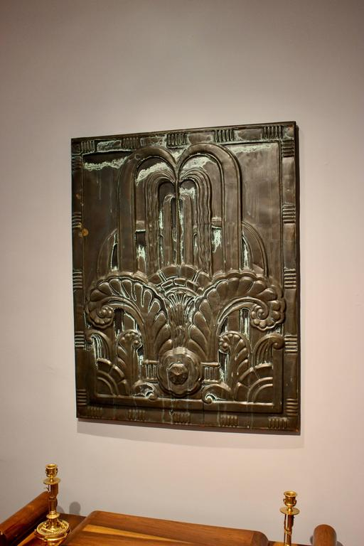 1920s Art Deco Black Tin Architectural Panel from New England Power Company For Sale 1