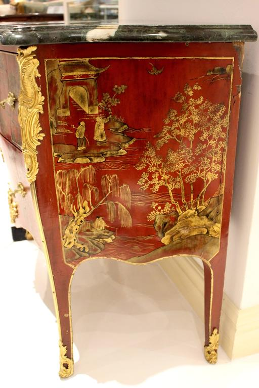 Louis XV Style Two Drawer Red Lacquer Commode  4