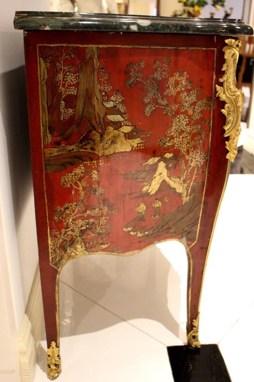 Louis XV Style Two Drawer Red Lacquer Commode  5