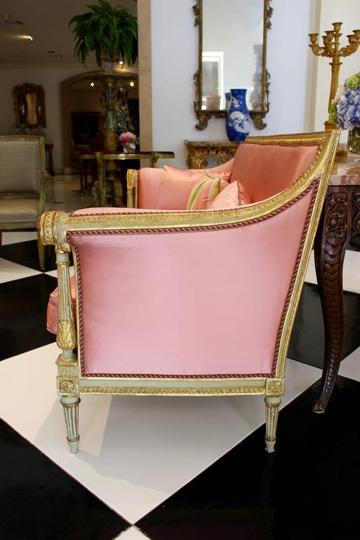 French Late 18th Century Louis XVI Period Painted and Parcel-Gilt Canapé Settee In Good Condition For Sale In Palm Desert, CA