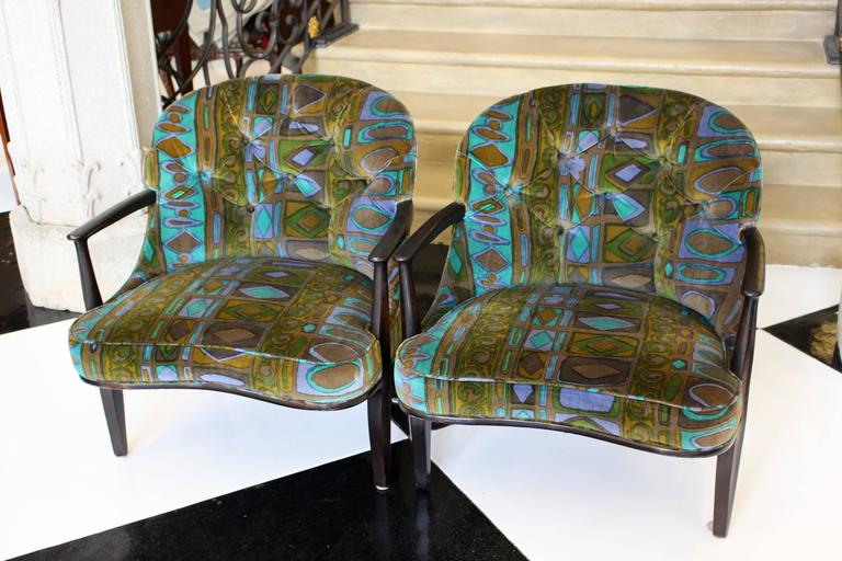 Upholstery Pair of Edward Wormley for Dunbar's Janus Collection Ebonized Mahogany Armchairs For Sale