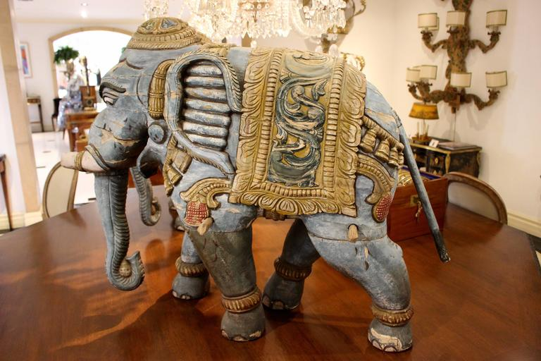 20th Century Pair of Parading Polychrome Carved Wood Striding Elephant Sculptures For Sale