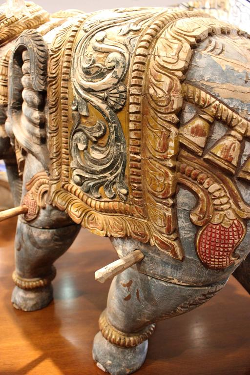 Pair of Parading Polychrome Carved Wood Striding Elephant Sculptures For Sale 1