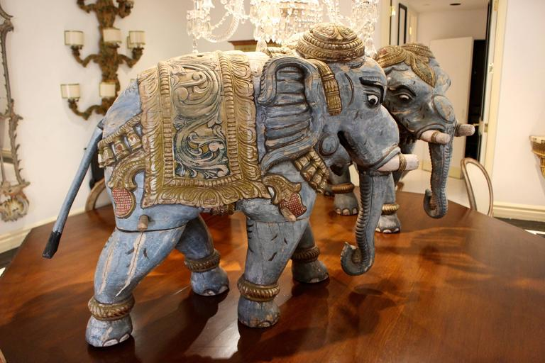Pair of Parading Polychrome Carved Wood Striding Elephant Sculptures For Sale 4