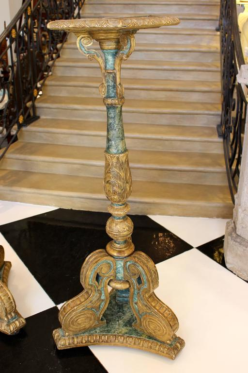 Baroque Pair of South European Faux Marble Painted and Parcel-Gilt Wooden Torchères For Sale