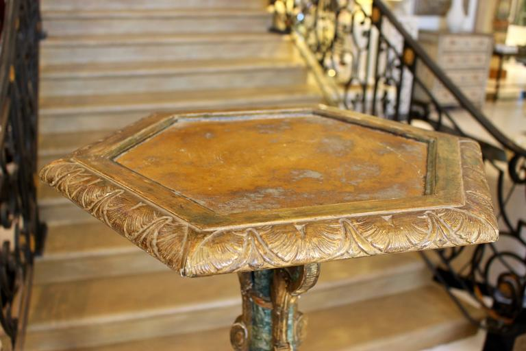 Pair of South European Faux Marble Painted and Parcel-Gilt Wooden Torchères In Fair Condition For Sale In Palm Desert, CA