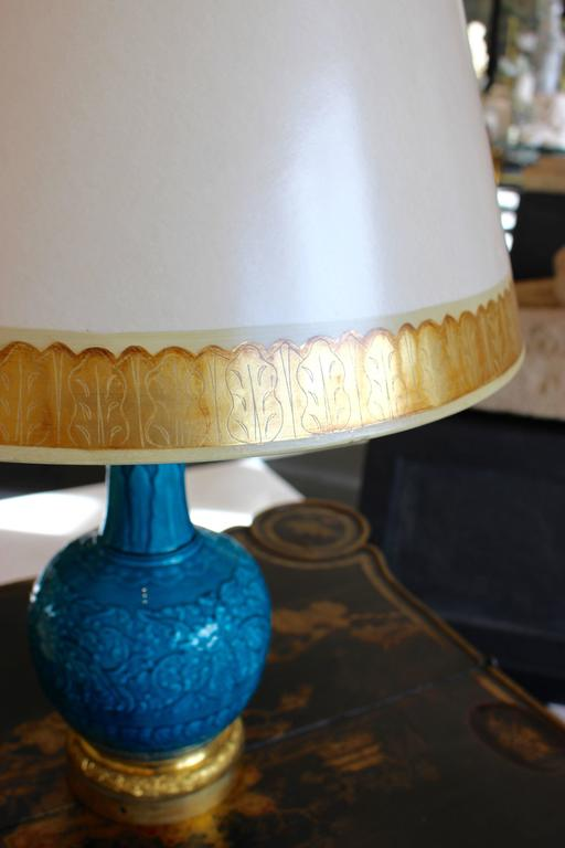 Pair of Ormolu-Mounted Theodore Deck Faience Persian-Blue Vases with Lampshades In Good Condition For Sale In Palm Desert, CA