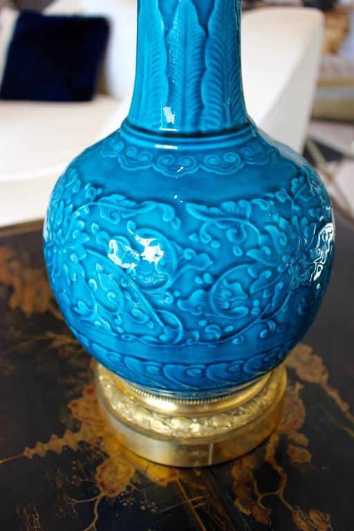 French Pair of Ormolu-Mounted Theodore Deck Faience Persian-Blue Vases with Lampshades For Sale