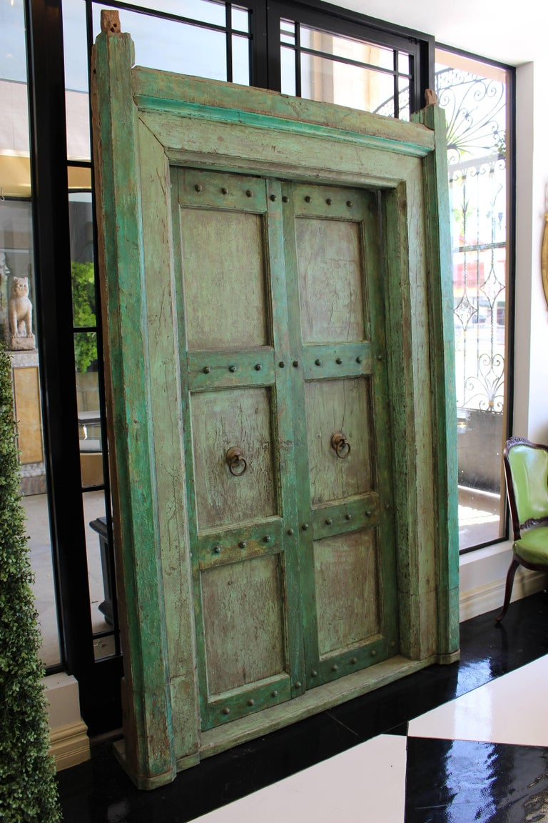 19th Century Indian Neoclassical Pale Green Painted Doors and Door Surround For Sale