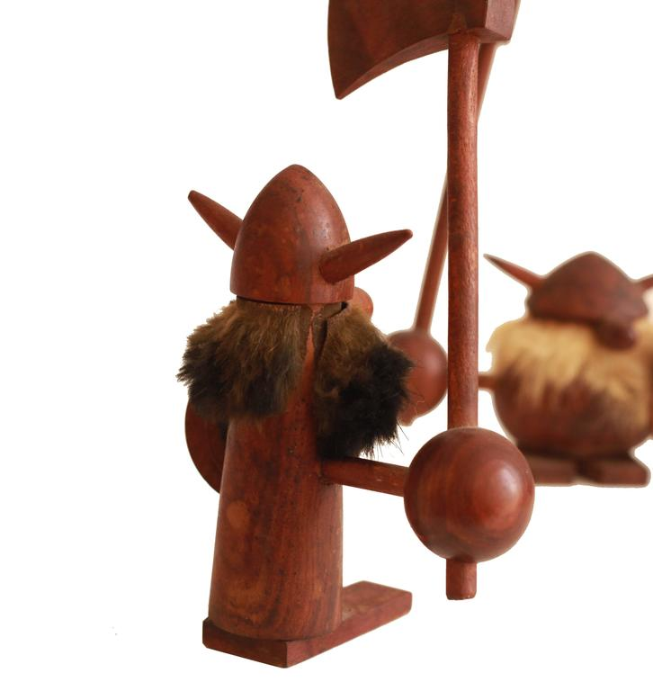Vintage Wooden Danish Viking Figures