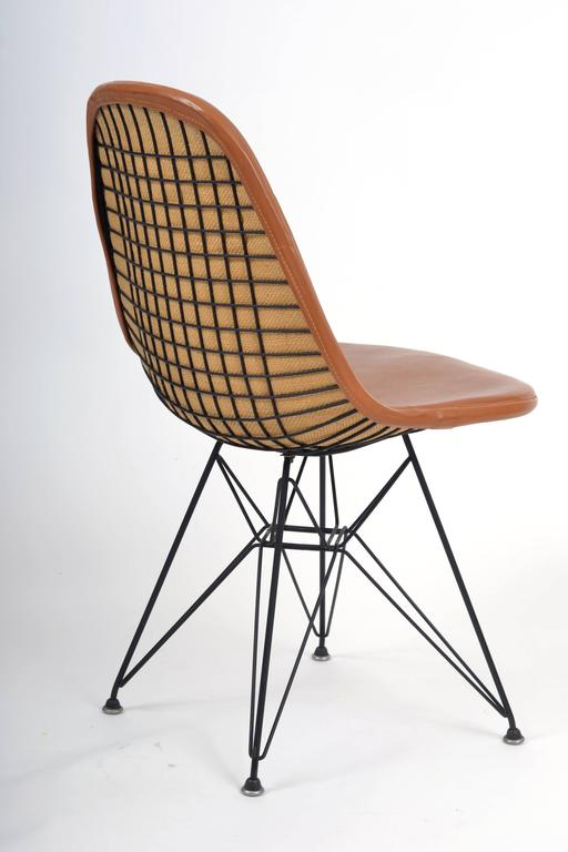Vintage Eames DKR 1 Wire Chair With Leather Seat On Eiffel