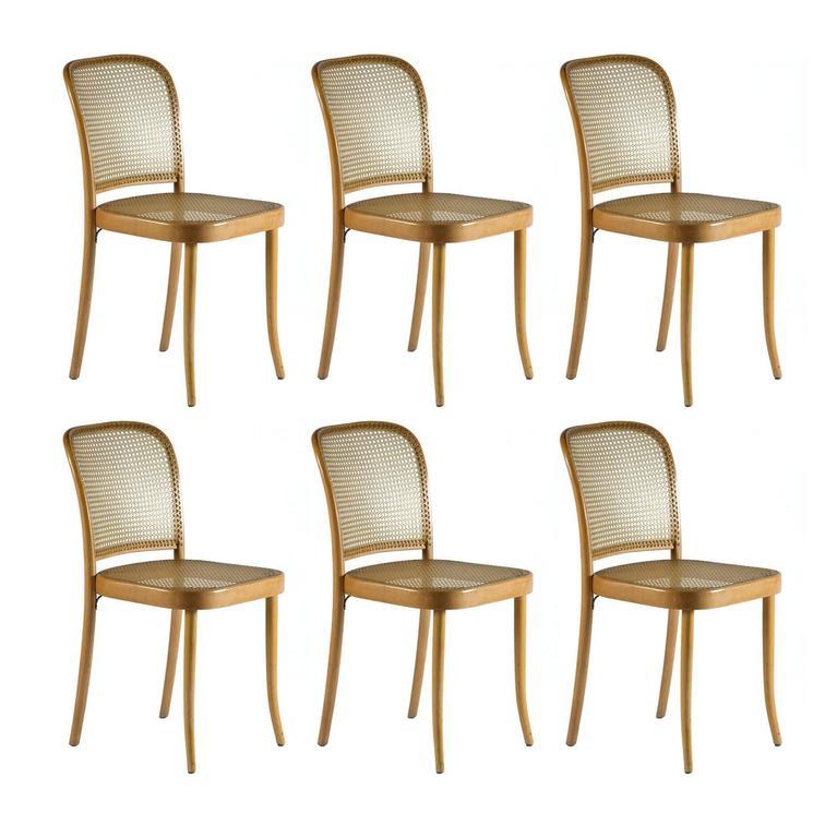 """Set of Six Josef Hoffmann """"Prague"""" Bentwood Chairs for Stendig, 1960s"""