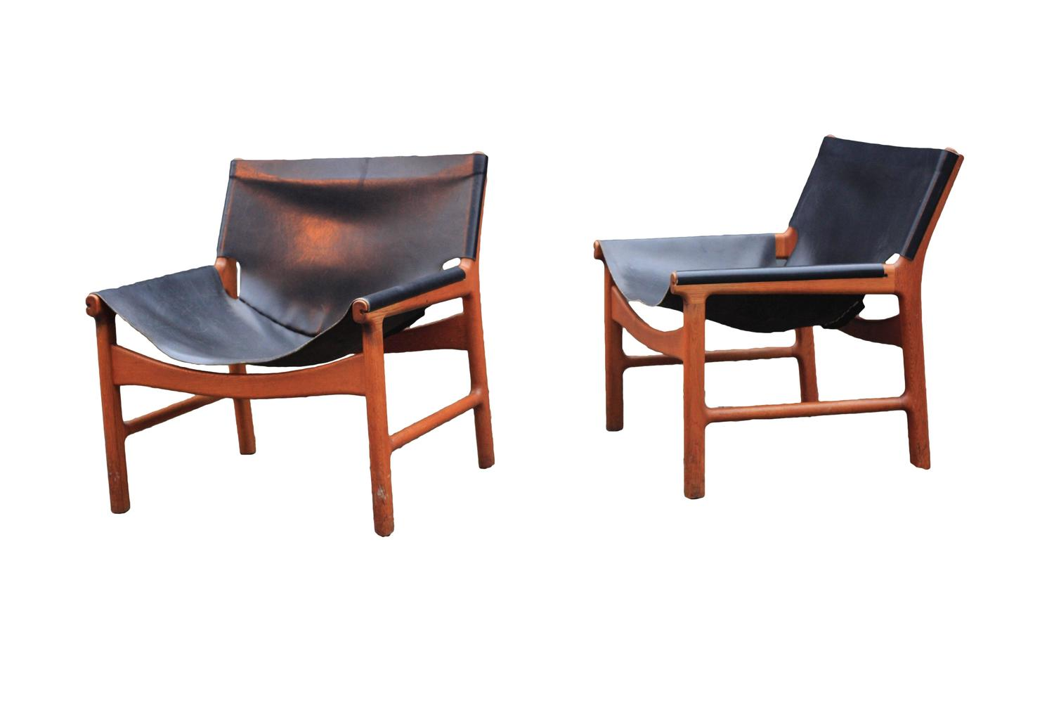 Rare matching pair of illum wikkelso teak and leather for Matching lounge furniture