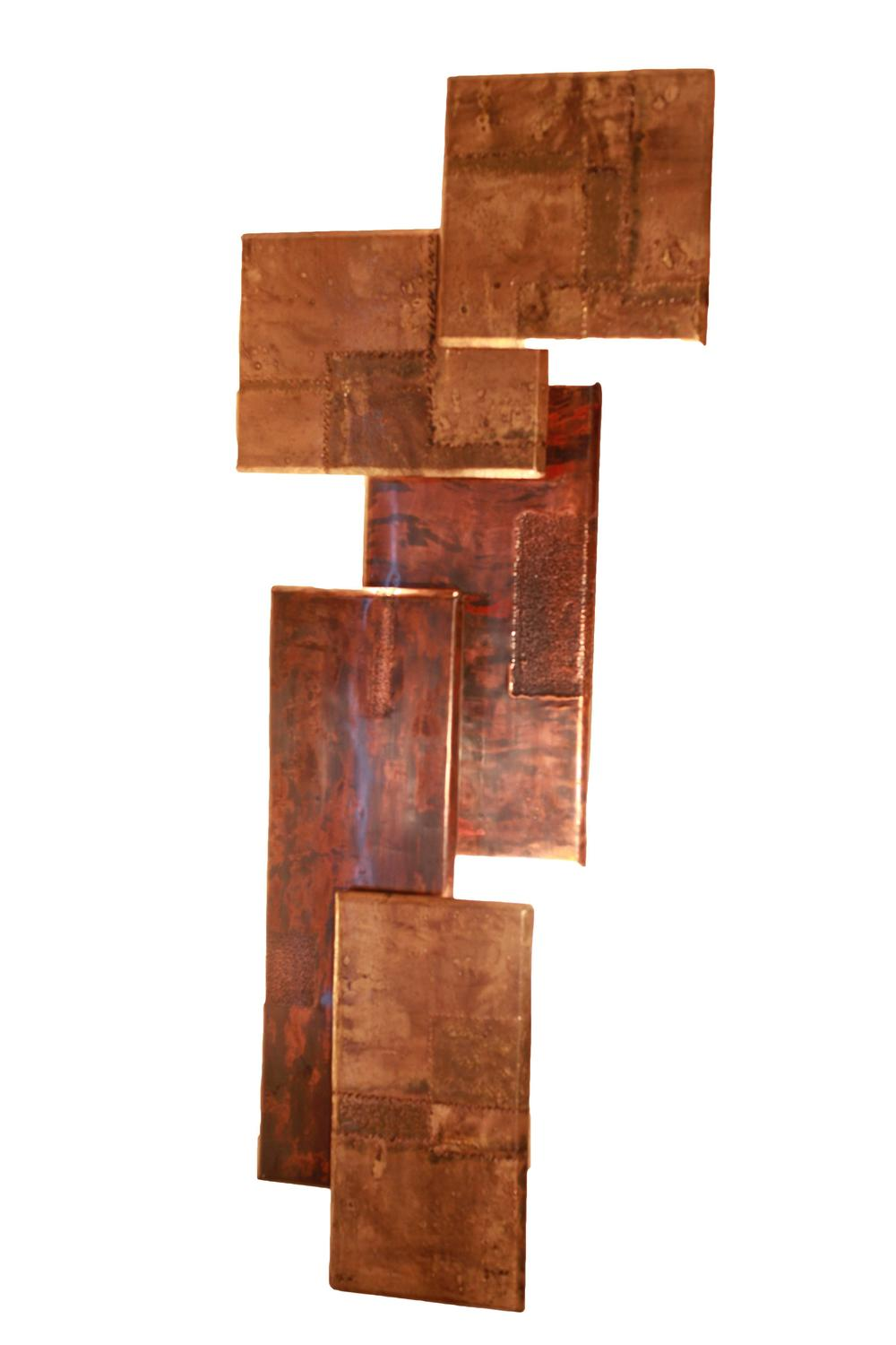Very Large Brutalist Paul Evans Style Wall Sconces by Studio Artist Zsolt Vudy at 1stdibs