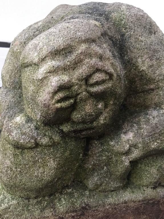 Japanese hand carved stone sumo wrestler sculpture for