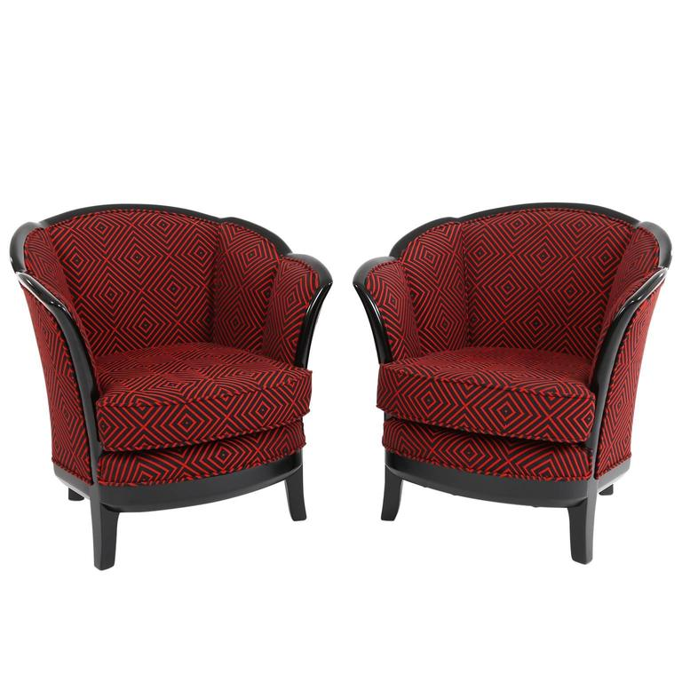 Bon Two French Art Deco Club Chairs, France 1930s In Black Red Fabric Upholstery