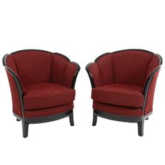 Two French Art Deco Club Chairs, France 1930s in Black-Red Fabric Upholstery