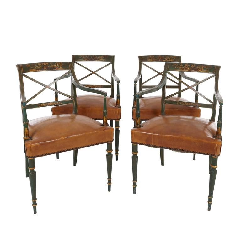 Set of Four English Regency Painted and Parcel Gilt Armchairs, 19th Century