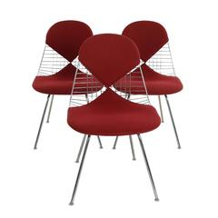 Wire Chair DKX 5 by Ray & Charles Eames with Red Bikini Cover Designed in 1951