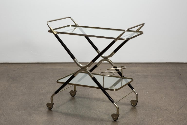 Mid-Century Modern Vintage Italian Midcentury Bar Cart Designed by Cesare Lacca, 1940 For Sale