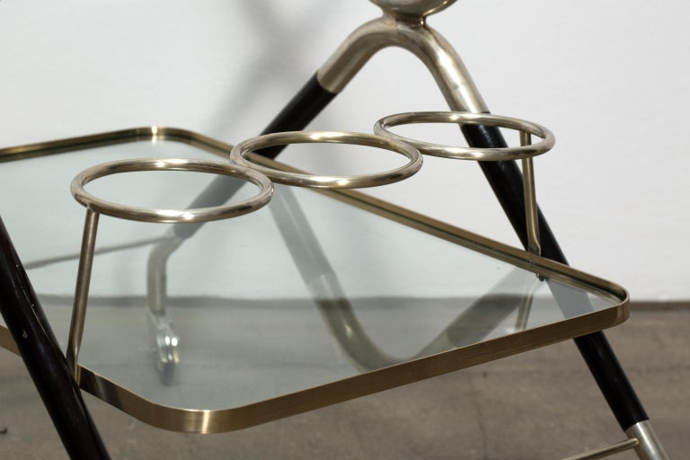 Silvered Vintage Italian Midcentury Bar Cart Designed by Cesare Lacca, 1940 For Sale