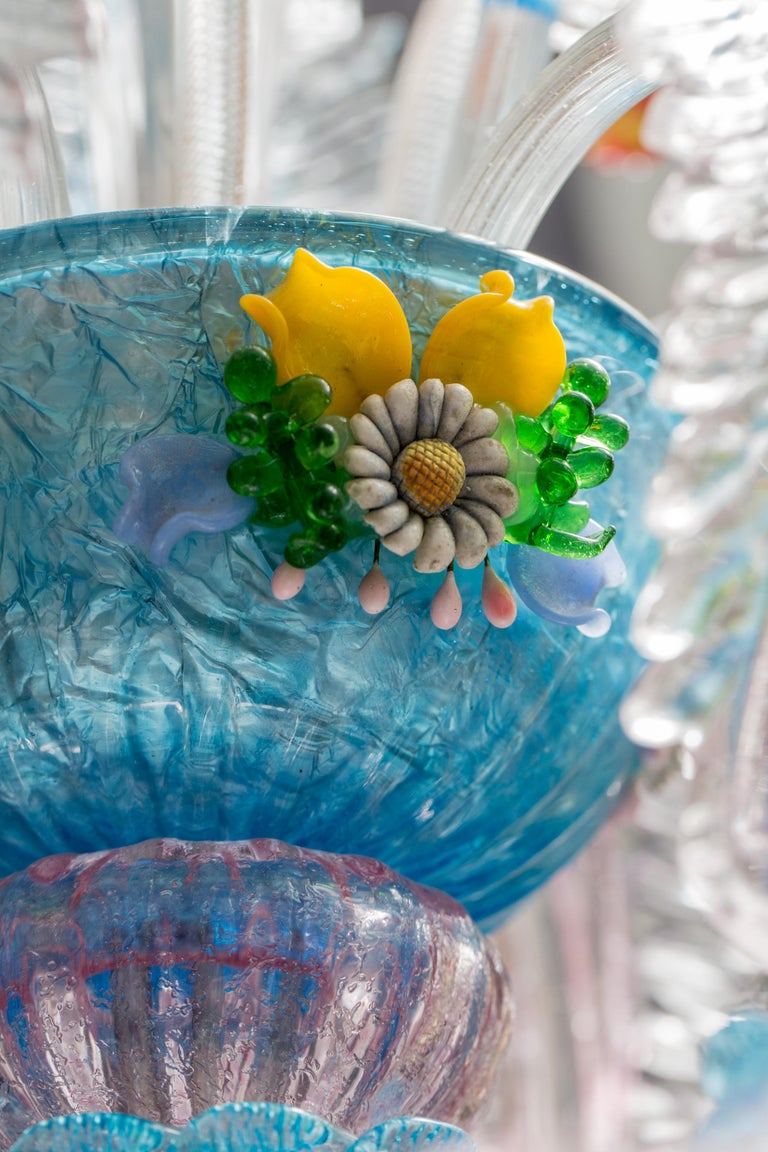 Mid-Century Modern Midcentury Italian Venetian Murano Glass Chandelier by Galliano Ferro For Sale
