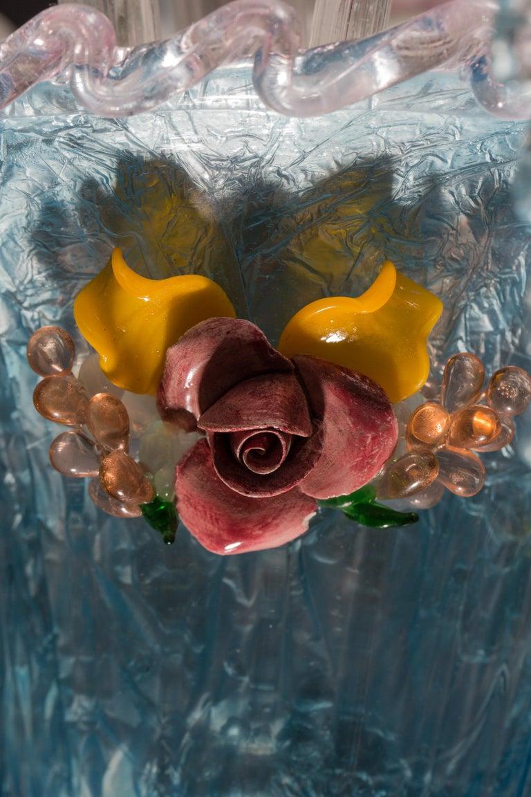 Midcentury Italian Venetian Murano Glass Chandelier by Galliano Ferro For Sale 1