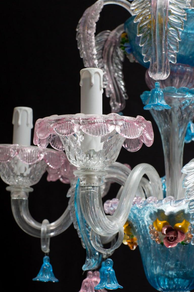 Midcentury Italian Venetian Murano Glass Chandelier by Galliano Ferro For Sale 2